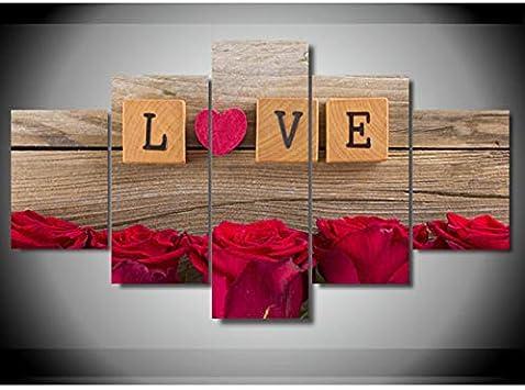 Sanzx 5 unidades lienzo pintura fotos amor en Scrabble corazón rosas rojas decoración de la habitación impresión del cartel D arte de la pared sin marco 30 * 40 * 2 30 * 60 * 2 30 * 80 cm: Amazon.es: Bricolaje y herramientas
