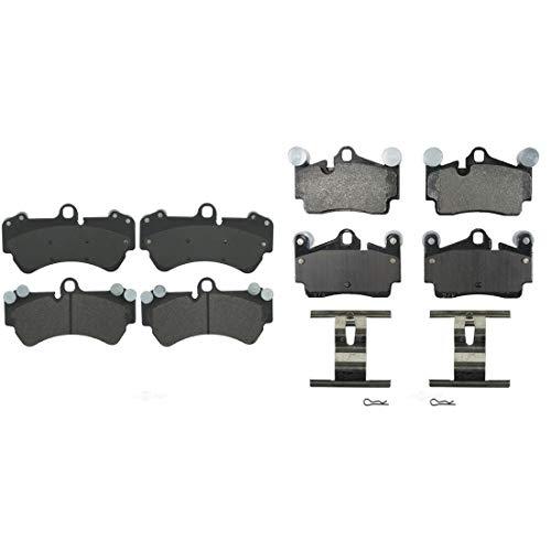 AutoDN Front and Rear 8PCS Semi-metal Disc Brake Pad Set For PORSCHE CAYENNE 2003-06 ()