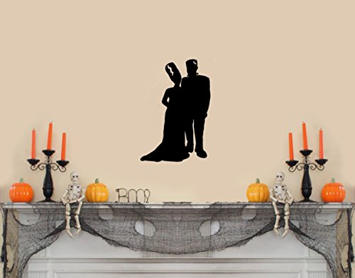 Frankenstein and Bride Silhouette (Full Body)Halloween Wall Decal-