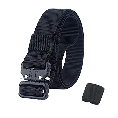QAZSE Quick Release Nylon Work Belt 1 Inch Webbing Lightweight Tactical Belt for Men and Women Black 43