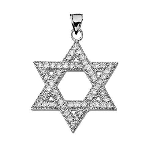 Star Of David White Necklace - Dazzling CZ Star of David in 14k White Gold Pendant