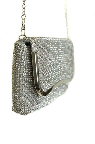 ICE (2531-2) Smart-Designer-Look weicher Clutch Bag Diamante All Over Silber