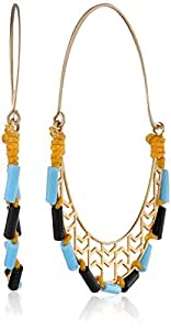 Kris Nations Gold and Turquoise Canyon Glass Tube Beaded Mountain Range Motif Pattern Earrings