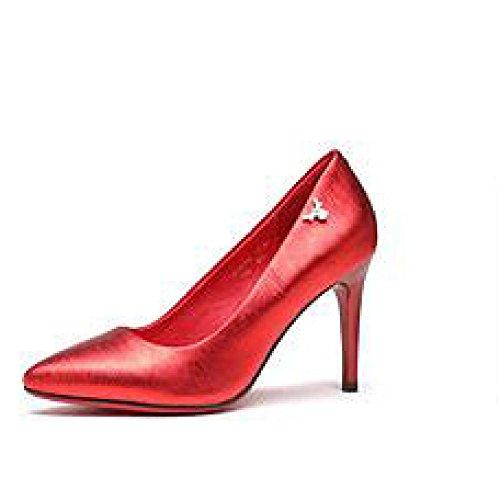 Corte da 35 Scarpe Tacchi Moda 8cm Donna 3 Nightclub EU Lavoro Party Sexy 8 Pelle in Scarpe Nero Sposa UK Alti Red 0wnHxqxA8
