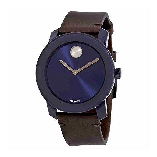 Movado Bold Navy Blue Sunray Dial Mens Leather Watch 3600461