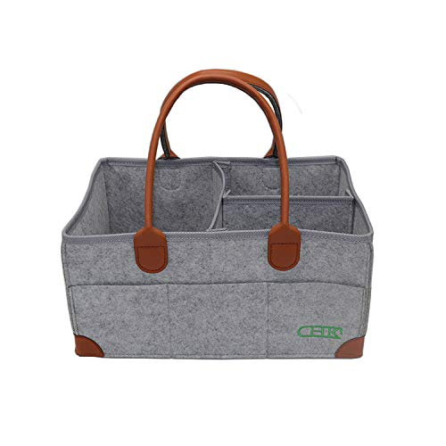 Valuables Caddie - Foldable Baby Diaper Caddy Organizer by CHK - Premium Travel and Car Basket for Diapers in Soft Grey Felt - Portable Nursery Storage for Newborn Boy or Girl - Large Changing Table Cloth Holder Caddie