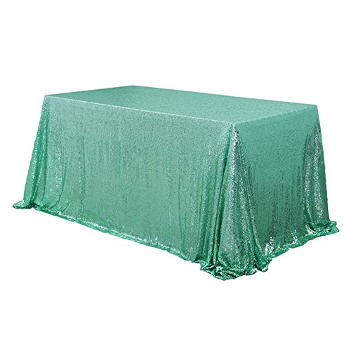 TRLYC Sequin Tablecloth Rectangular Mint Sequin Table Cloth for Wedding-60x105 -
