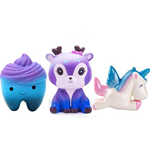 GYUEE Squishies Slow Rising Kawaii Cute Deer horse star teeth for Kids Party Stress Reliever Toy(3 PACK) by GYUEE