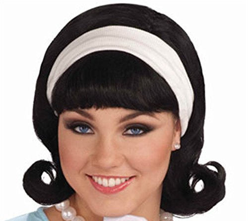 [Forum Novelties Womens 50's Flip Wig with Headband, Black, One Size] (Go Go Dancer Halloween Costumes Women)
