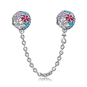 NINAQUEEN Happy Daisy 925 Sterling Silver Clasp Stopper Safety Chain For Women's Charm Bracelet Openable Clip Lock Stopper Charm Beads Spacer