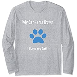 Unisex My Cat Hates Trump Funny Anti-Trump Long Sleeve Shirt Large Heather Grey