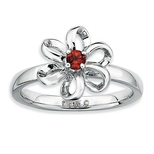 Sterling Silver Garnet Flower Ring (Stackable Expressions Sterling Silver Polished Simulated Garnet Flower Ring - Size 7)