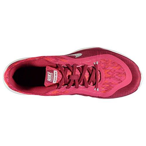 NIKE Flex Trainer 6Imprimé formation Chaussures pour Femme Rouge/Platine Baskets Sneakers, Rouge/platine, (UK6) (EU40) (US8.5)