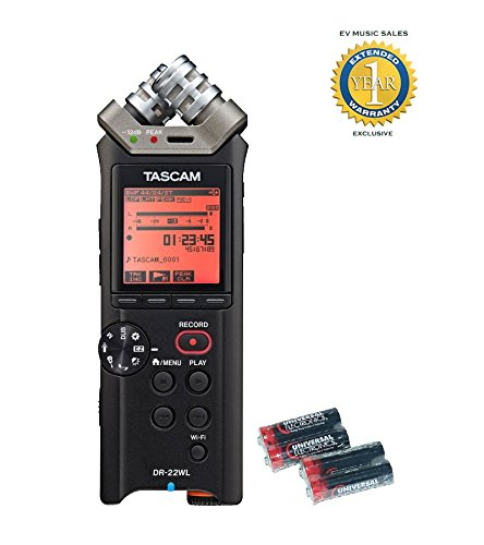 Tascam DR-22WL Portable Handheld Recorder with 4 Free Universal Electronics AA Batteries and 1 Year Free Extended Warranty by Tascam