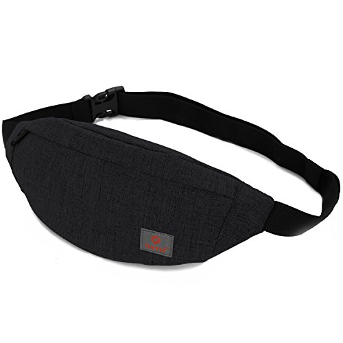 Tinyat Travel Fanny Bag Waist Pack Sling Pocket Super Lightweight For Travel Cashier's box, Tool Kit T201, Black