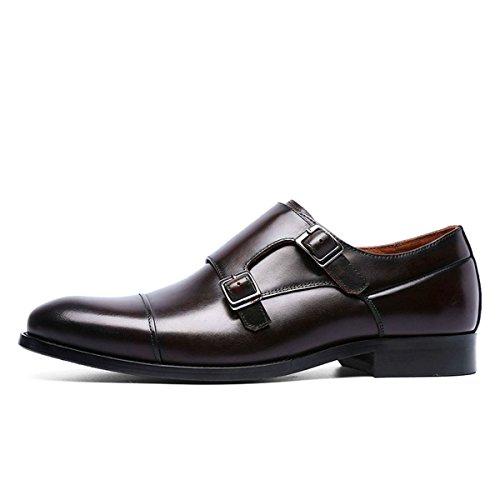 Leather Double Oxford Dress Grain Toe Men Cap Brown for TENGTA Mens Full Strap Monk Shoes Loafers vqw4FRT