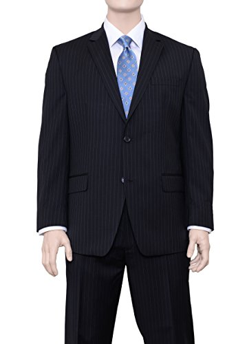 Michael Kors Modern Fit Black Pinstriped Two Button Wool Suit ()