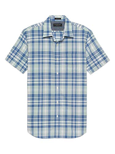 Banana Republic Mens Slim-Fit Soft Wash Short Sleeve Button Down Shirt White Blue Green Plaid -