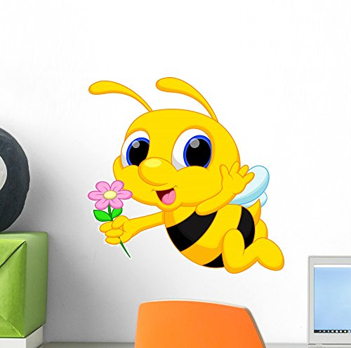 Wallmonkeys Cute Bee Cartoon Flying While Carrying Flower...