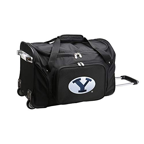 NCAA BYU Cougars Wheeled Duffle Bag, 22 x 12 x 5.5, Black - Brigham Fabric University Young