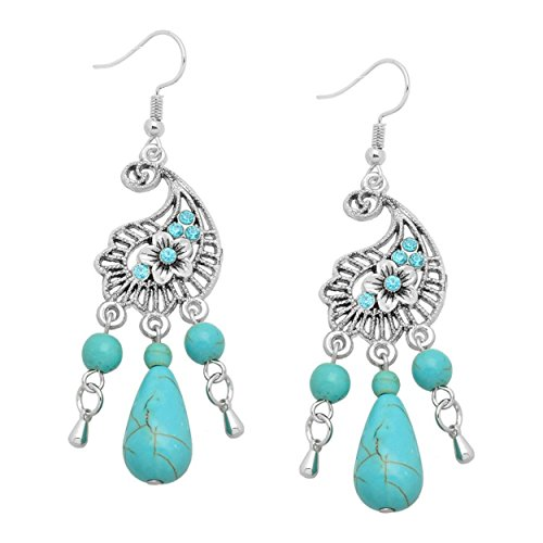 Antiqued Filigree Butterfly Ring - Antiqued Filigree Crystal Large Turquoise Flower Dangle Earrings 2.75