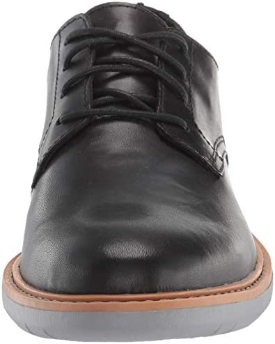 Clarks Men\'s Draper Lace Oxford, Black Leather with Grey Outsole, 115 M US