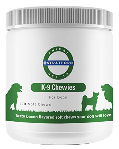 Stratford Pharmaceuticals Glucosamine for Dogs, Best Tasting K9 Chewies, The Advanced Hip and Joint Supplement for Dogs with Glucosamine Chondroitin for Dogs, MSM and Turmeric (Bacon, 120 Count)