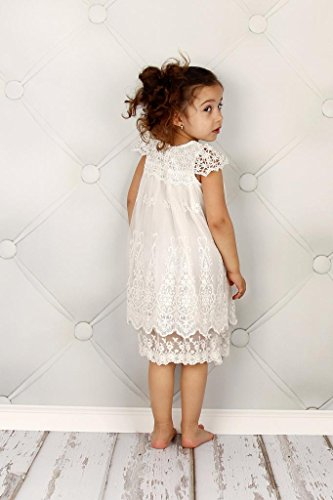 Bow Dream Vintage Rustic Baptism Lace Flower Girl's Dress Off White 5 by Bow Dream (Image #3)