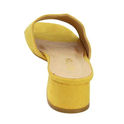 Beston De52 Sandales À Talons Bas Femmes Glissent Sur Des Pantoufles Diapositives Courir Une Taille Petite Jaune