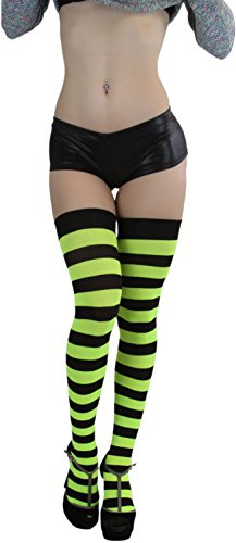 ToBeInStyle Women's Wide Vertical Striped Thigh Hi Stockings (Black w/Neon Yellow Stripes) (Black And Yellow Striped Nylon Stockings)