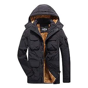Veste Homme Softshell Respirant Manteau Hiver avec Capuche Outdoor Parka Imperméable Doublure De Peluche
