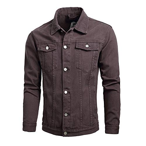 Men Jackets,Dartphew -Men's Winter -Turn-Down Collar Solid Denim Jacket Coat