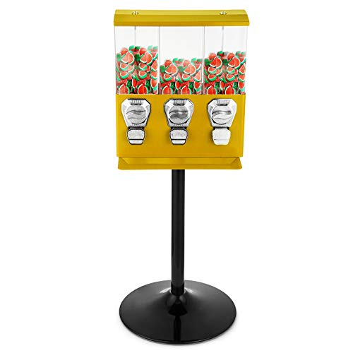 Mophorn Gumball Vending Machine Triple Head Candy vending Dispenser with Stand Gumball Bank Durable Metal Body Removable Canisters(Yellow) ()