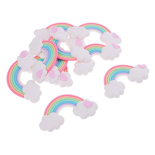 (Homyl 10 Pieces Rainbow Stars Clouds Hearts Polymer Clay Cabochon Embellishment DIY Accessories for Phone Cover Findings - Style 2)