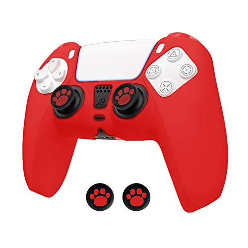 Paesteffe Silicone Case Cover Skin for Sony PS5 DualSense Controller with Thumb Grips (Red)