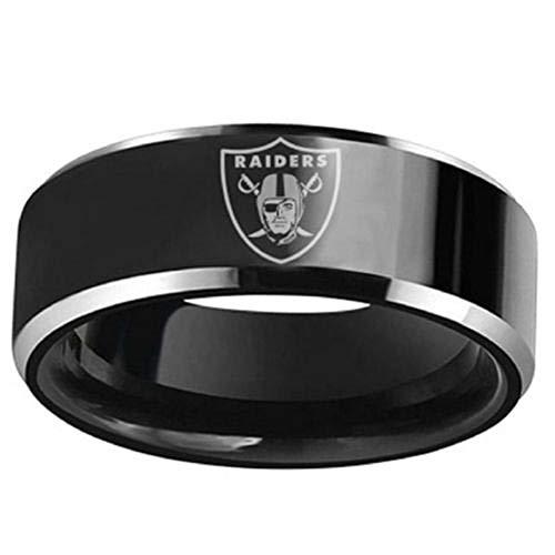 Oakland Raiders Jewelry - FlyStarJewelry Oakland Raiders Football Black Titanium Steel Men Sport Ring Band Size 6-13 (11)