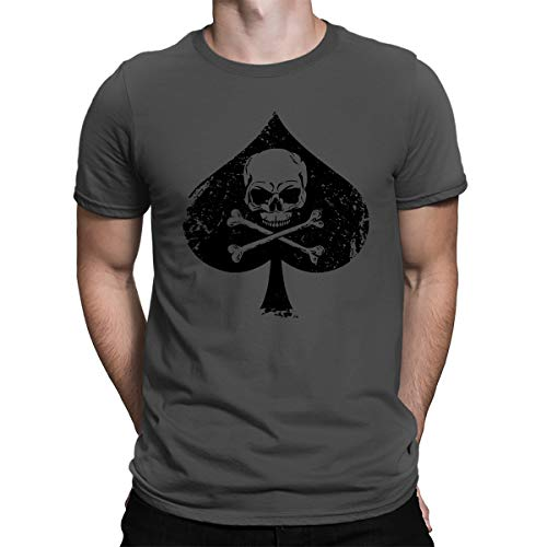 (SpiritForged Apparel Ace of Spades Skull & Crossbones Men's T-Shirt, Charcoal XL)