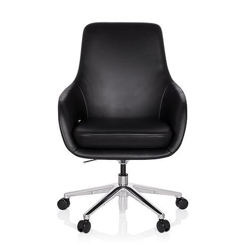 Lounge sessel echt leder schwarz  hjh OFFICE 600980 Bürostuhl BARENO Echt-Leder Schwarz Lounge ...