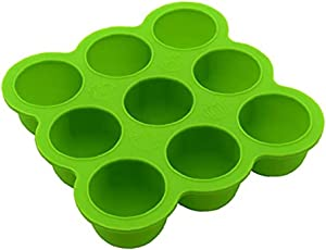 NIDONE Baby Food Freezer Tray Silicone Baby Food Container 9-Hole Food Supplement Box Green Ice Tray