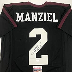 Autographed/Signed Johnny Manziel Texas A&M Black College Football Jersey JSA COA