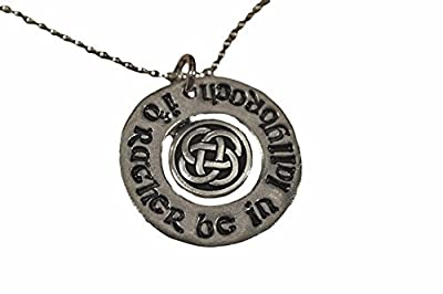Id Rather Be in Lallybroch Necklace - Pewter Hand Stamped with Celtic Knot Circle on 18 Inch Chain