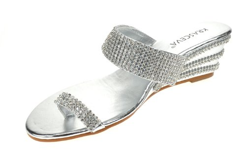 Chic Feet Ladies Womens Silver Diamante Low Wedge Heel Dressy Holiday Party Evening Shoes Sandals abicGr