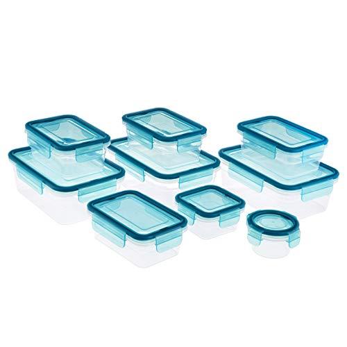AmazonBasics 24 Piece Plastic Locking Food Storage Container - Blue