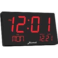 Bluetech - Reloj digital LED extragrande - Pantalla extra grande, dígitos fáciles de leer de 3 pulgadas, diseño elegante - reloj de pared para uso en el hogar o la oficina