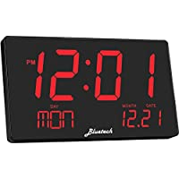 Bluetech Oversized LED Digital Clock- Extra Large Display, Easy to Read 3 Inch Digits, Sleek Design - Wall-Shelf Clock for Home Or Office Use