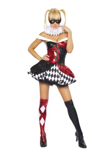 Sexy Adult Clown Costumes (Roma Costume 4 Piece Sexy Clown Costume, Black/Red/White, Small/Medium)