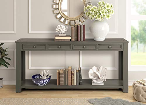 (Harper&Bright Designs Console Table for Entryway Hallway Table with Drawers Buffet Sideboard Storage Cabinet (Antique Gray))