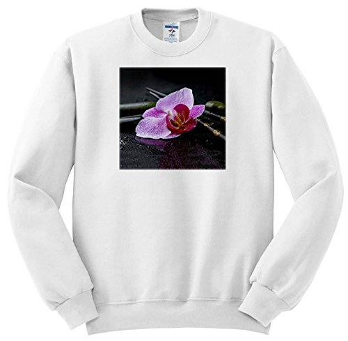 Flower Chop Plate - 3dRose Andrea Haase Nature Photography - Pink Orchid Flower Zen Style On Wet Black Surface - Sweatshirts - Adult Sweatshirt 2XL (ss_274725_5)
