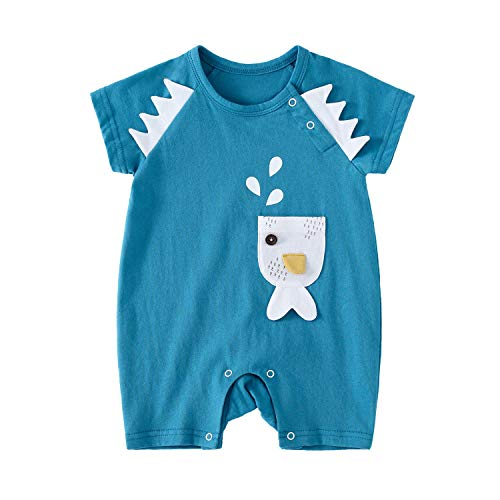 pureborn Baby Boys Romper Short Sleeve Summer Clothes Outfits Blue Fish 0-3 - Fish Romper
