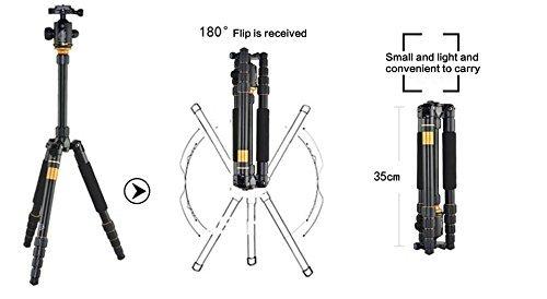 Flexzion DSLR Camera Tripod Professional Q555 Portable Travel Compact Monopod with Ball Head Adjustable Legs Magnesium Aluminium for Digital Canon Nikon Sony Olympus Pentax Stand Holder